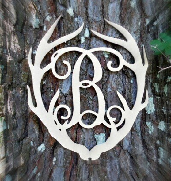 Antler Monogram Framed Letter Wooden Unfinished Craft-B