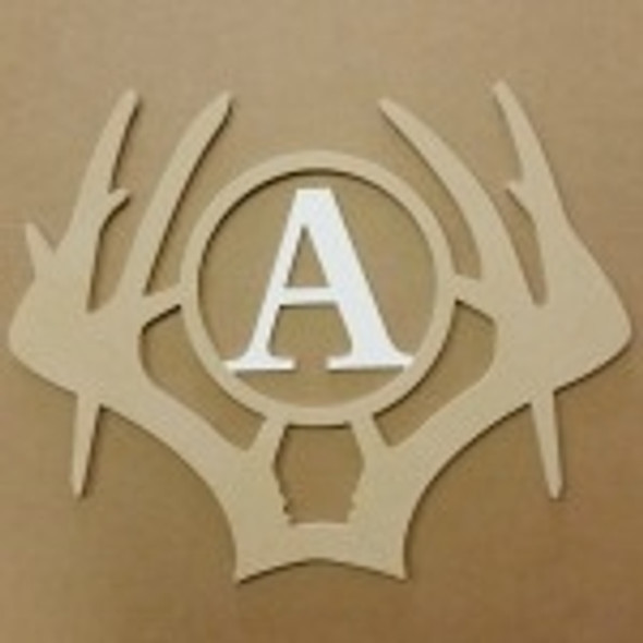 Antler Whitetail Insert Monogram Wooden Unfinished DIY Craft
