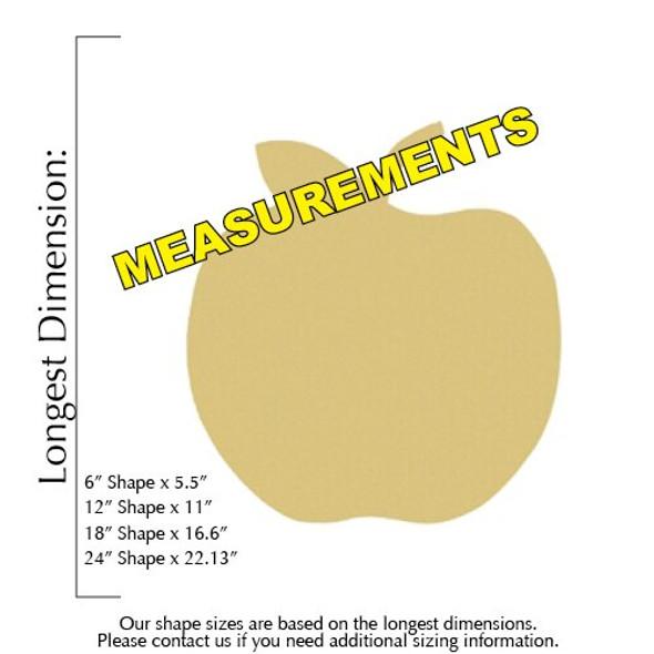 Apple Unfinished Cutout measurements
