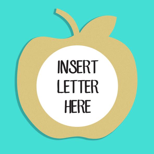 Apple Frame Letter Insert Wooden Monogram  Unfinished  DIY Craft