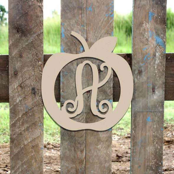 Apple Frame Monogram Letter Wooden Unfinished DIY Back to School Craft