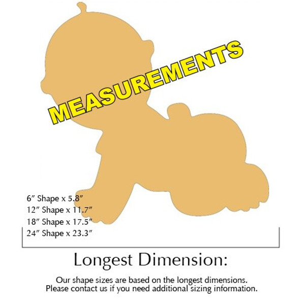 Baby Unfinished Cutout Paintable Wooden MDF Craft measurements
