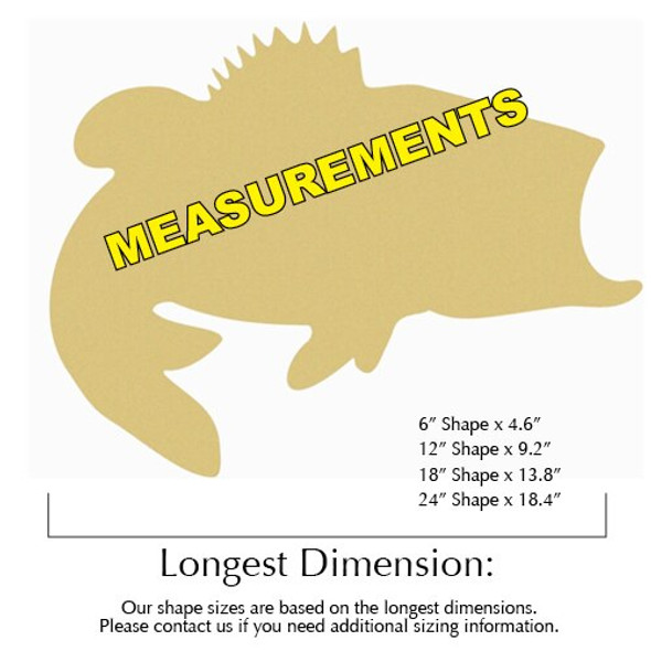 Bass Unfinished Cutout Paintable Wooden MDF measurements
