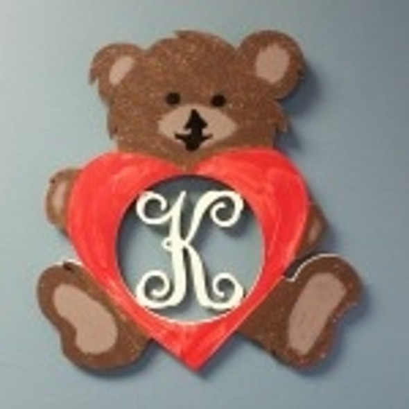Bear Sitting Love Frame Letter Insert Wooden Monogram Unfinished