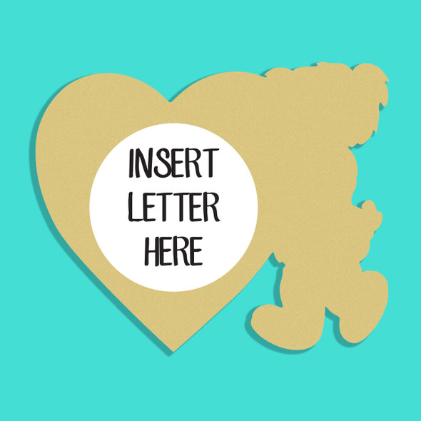 Bear Standing Love Frame Letter Insert Wooden Monogram Unfinished