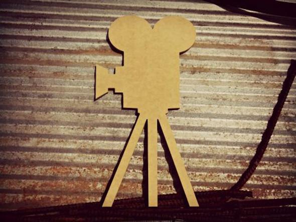 Movie Camera Unfinished Cutout, Wooden Shape, MDF DIY Craft