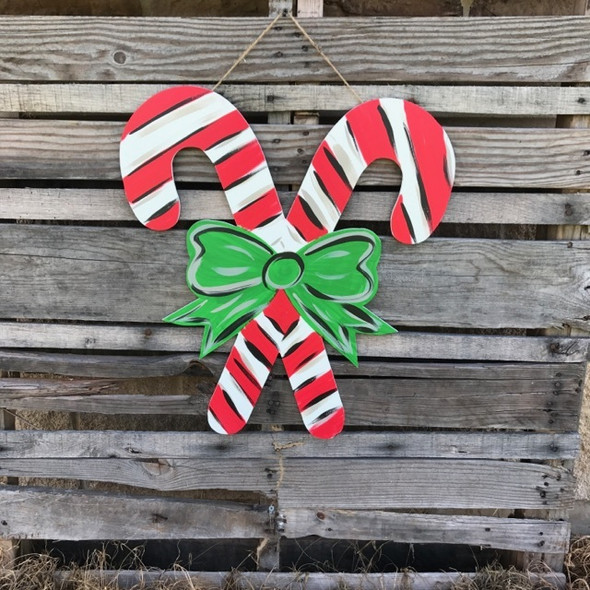 Christmas Candy Canes Unfinished Cutout, Wooden Shape,  DIY Craft