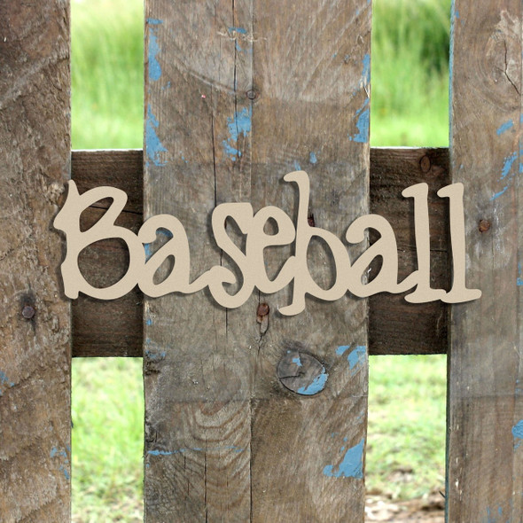 Baseball   Word Unfinished Cutout, Wooden Shape, MDF DIY