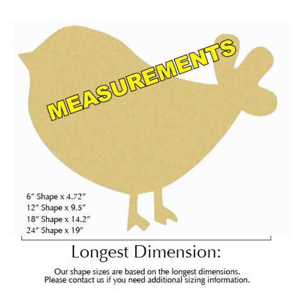 Chick Bird Unfinished Cutout measurements