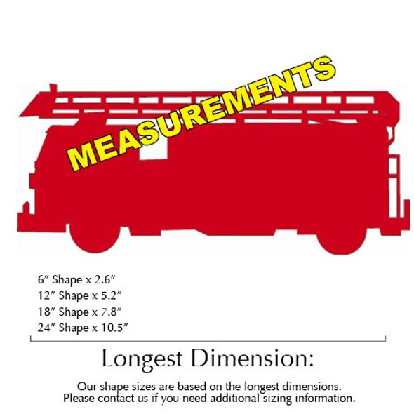 Fire Truck Unfinished Cutout measurements