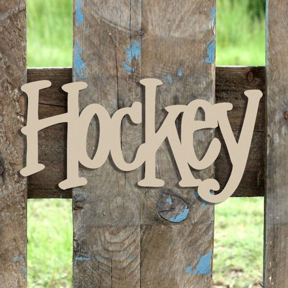 Hockey  Word Unfinished Cutout, Wooden Shape, MDF DIY