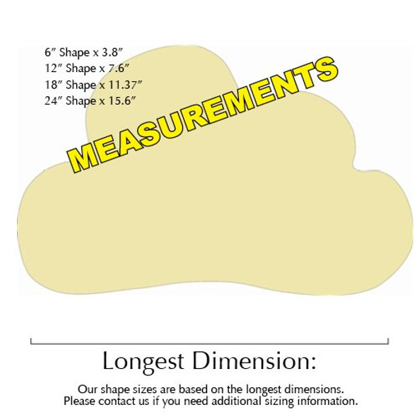 Cloud Unfinished Cutout Paintable Wooden MDF measurements