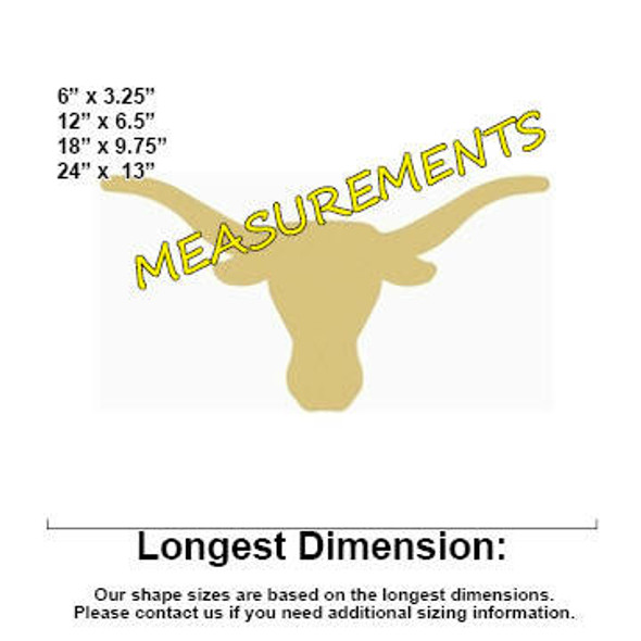 Cowboy Longhorn Unfinished Cutout measurements