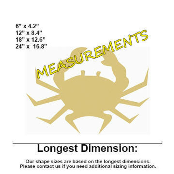 Crab Unfinished Cutout Paintable Wooden MDF measurements