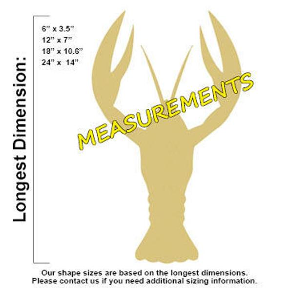 Crawfish Unfinished Cutout measurements