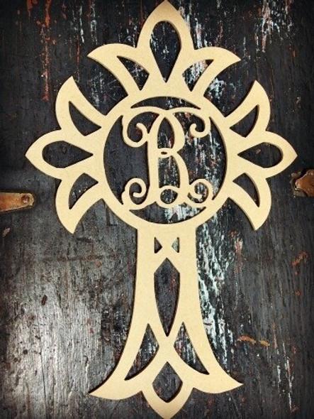 Cross Monogram Letter Unfinished DIY Craft-B
