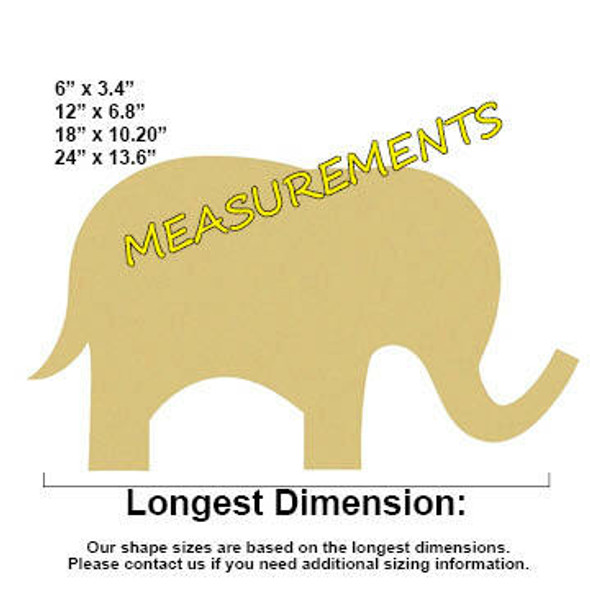 Cute Elephant Unfinished Cutout measurements
