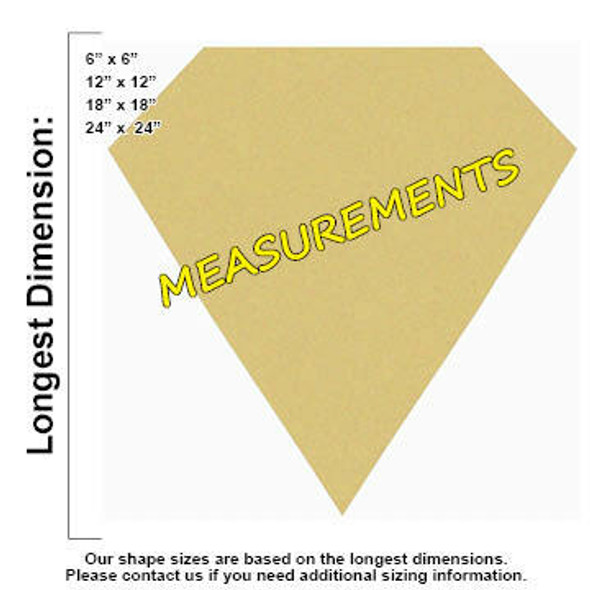 Cut Diamond Unfinished Cutout MEASUREMENTS