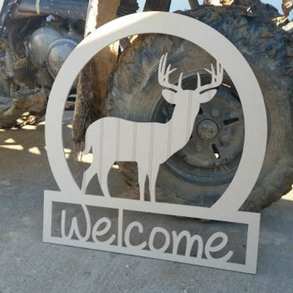 Deer Sportsman Welcome Sign Beadboard Unfinished  DIY Crafts