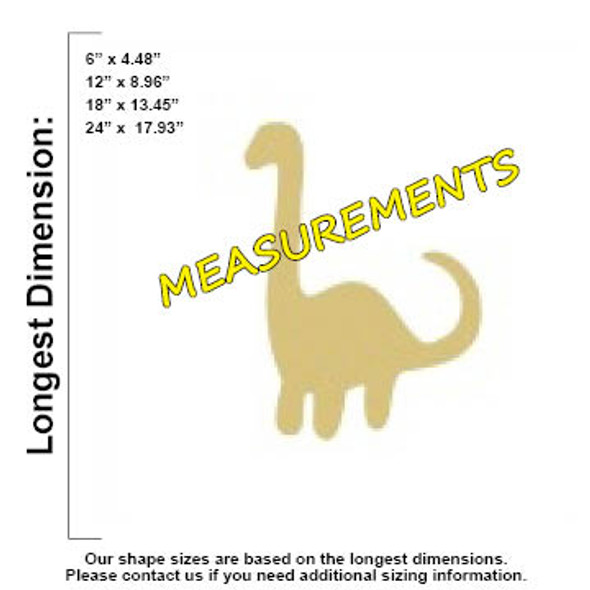 Dinosaur Brachiosaurus Unfinished Cutout, Wooden Shape, Paintable MDF