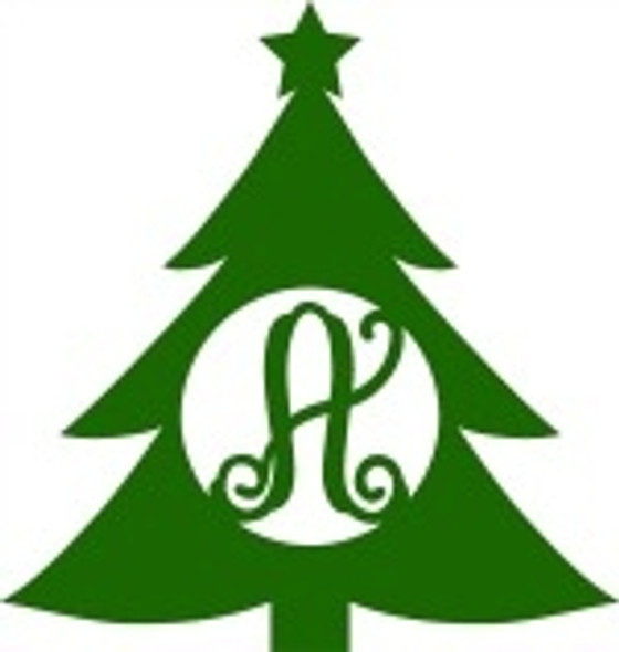 Wooden Christmas Tree Monogram Cutout, Christmas Monogram Letters