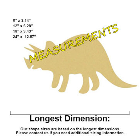 Dinosaur Triceratops(2) Unfinished Cutout, Wooden Shape, Paintable MDF