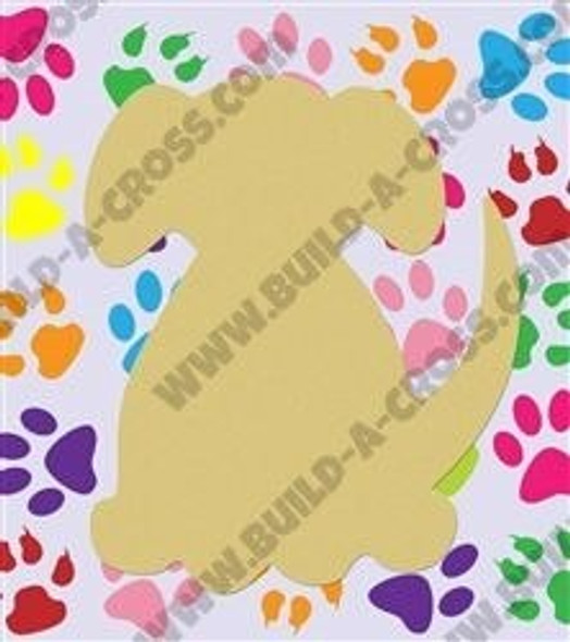 Dog Unfinished Cutout Paintable Wooden MDF Craft build-a-cross