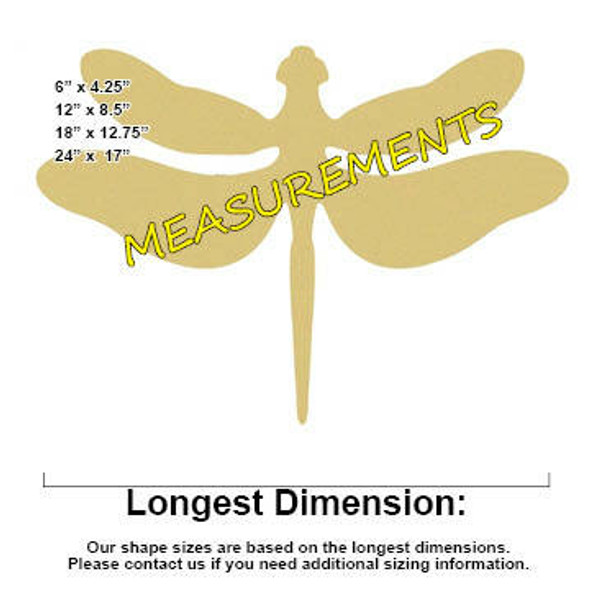 Dragonfly Unfinished Cutout measurements