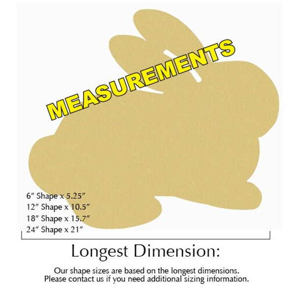 Bunny Unfinished Cutout MEASUREMENTS