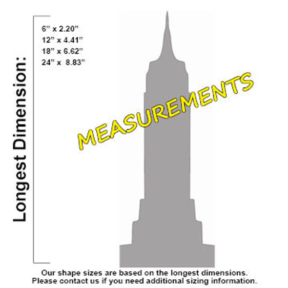 Empire State Building Unfinished Cutout, Wooden Shape, MDF DIY Craft