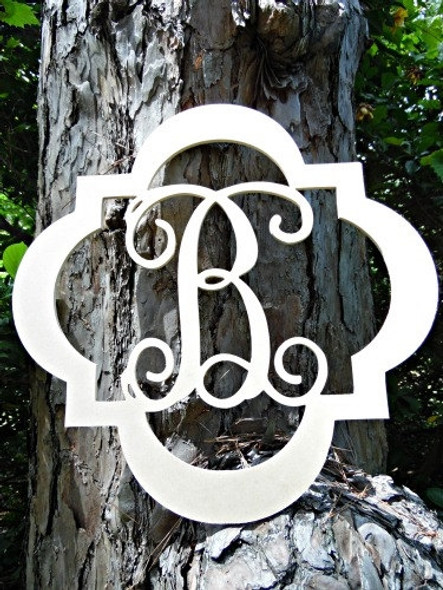 Evie Monogram Letter, Frame Wooden - Unfinished  DIY Craft