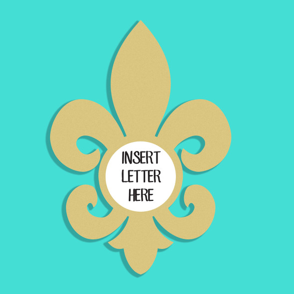 Fancy Fleur de Lis Frame Letter Insert Wooden Monogram Unfinished
