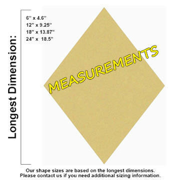 Diamond Unfinished Cutout Paintable MDF Craft MEASUREMENTS
