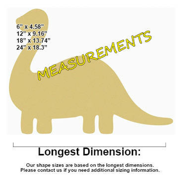 Dinosaur Unfinished Cutout measurements