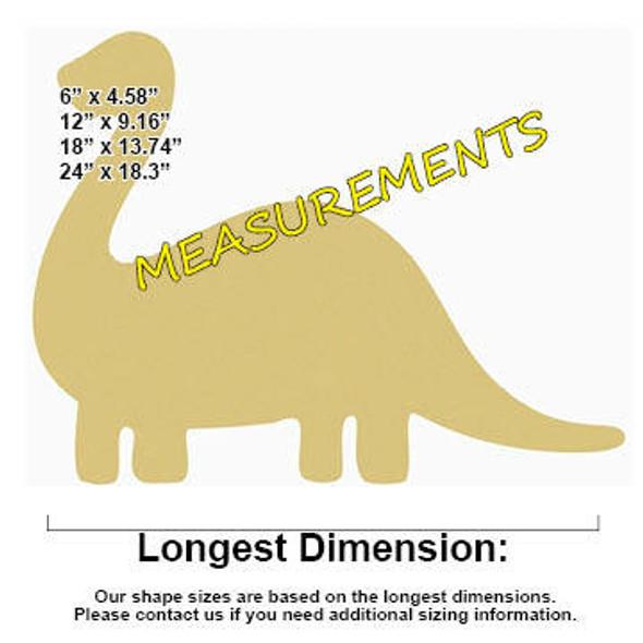 Dinosaur Unfinished Cutout measurements