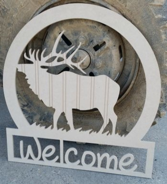 Elk Sportsman Welcome Sign Beadboard Unfinished DIY Craft