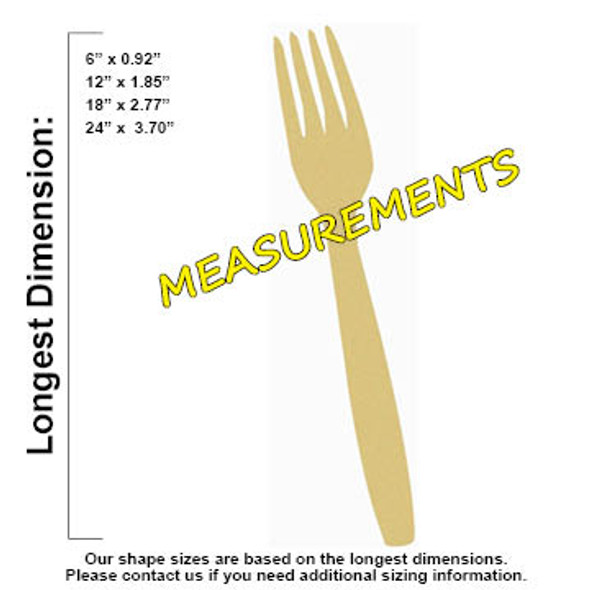 Fork Unfinished Cutout, Wooden Shape, Paintable Wooden MDF