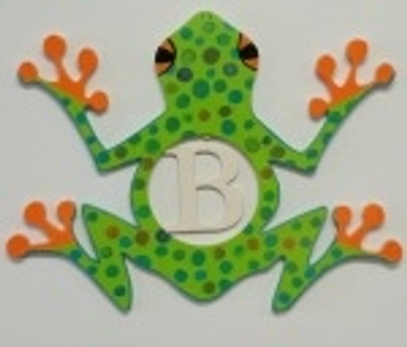 Frog Frame Letter Insert Wooden Monogram Unfinished DIY Craft