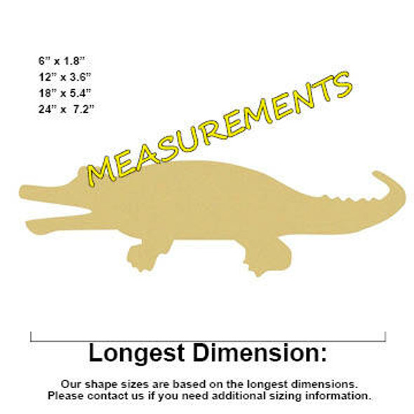 Gator Unfinished Cutout Paintable MDF Craft MEASUREMENTS