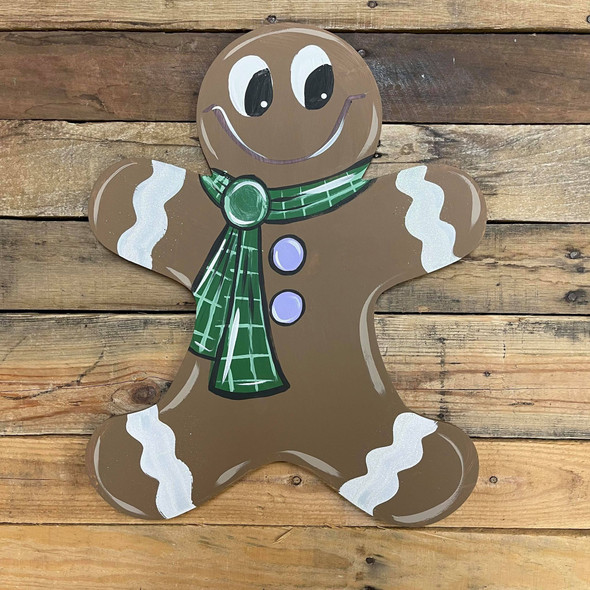 Gingerbread Man Unfinished Cutout, Wooden Shape,  Wooden