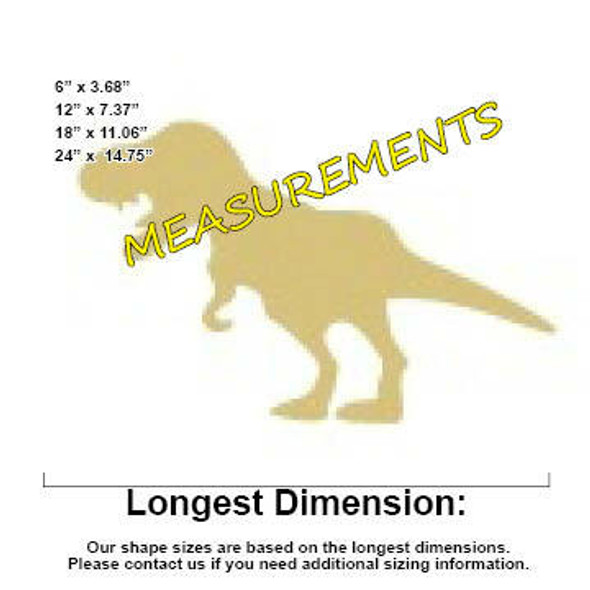 Dinosaur T-Rex(2) Unfinished Cutout measurements