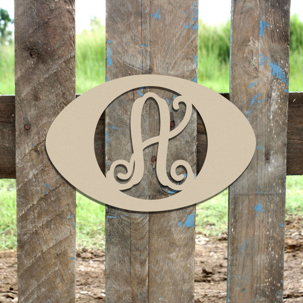 Football Framed Letter Monogram Wooden Unfinished DIY Craft