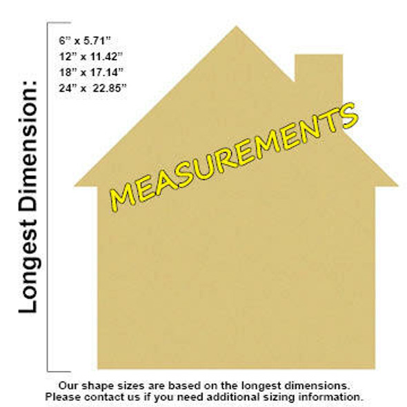 House Unfinished Cutout Paintable MDF DIY Craft MEASUREMENTS