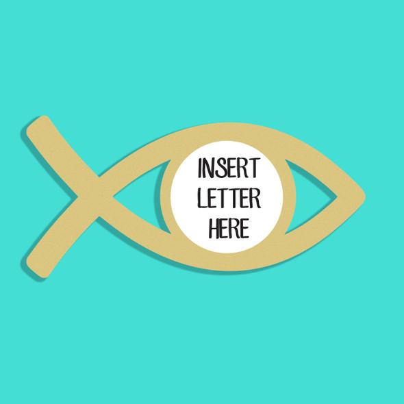 Jesus Fish Frame Letter Insert Wooden Monogram Unfinished DIY Craft