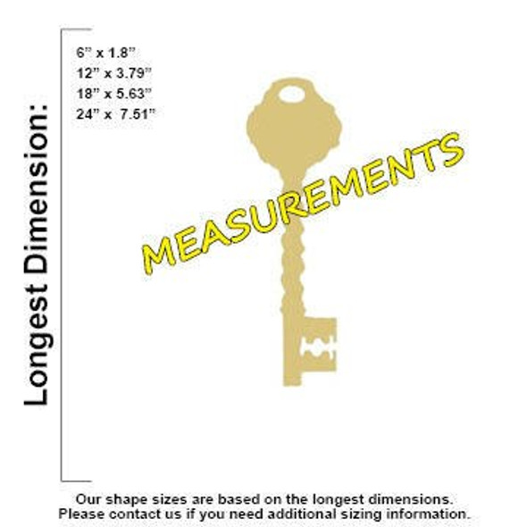Key Unfinished Cutout Paintable Wooden MDF measurements