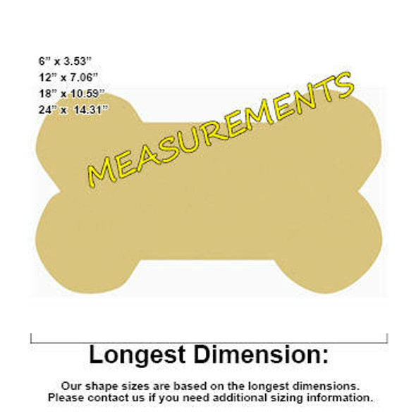 Dog Bone Unfinished Cutout measurements