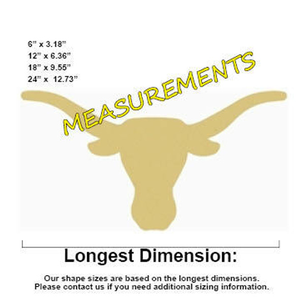 Longhorn Unfinished Cutout Paintable Wooden MDF MEASUREMENTS
