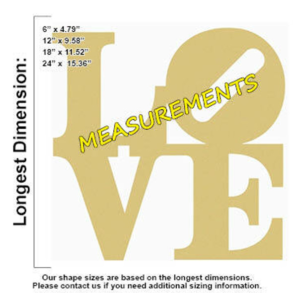LOVE Shape Unfinished Cutout MEASUREMENTS