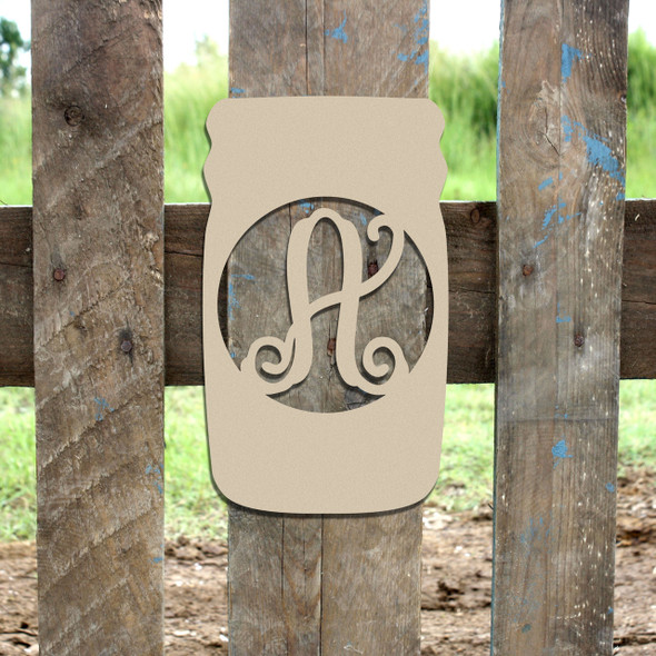 Mason Jar Frame Letter Monogram Unfinished DIY Craft