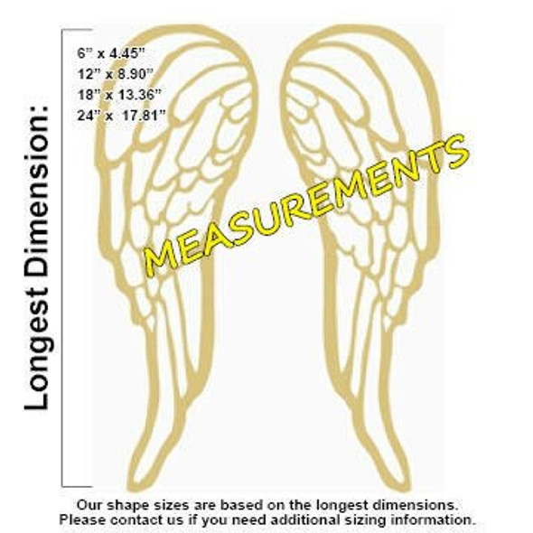Michael Angel Wings Unfinished Cutout measurements